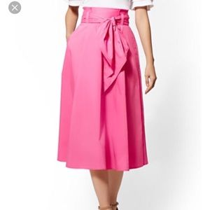 NY & Co. 7th Avenue Hot Pink Paperbag Skirt